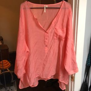 Coral Swim Cover-up top